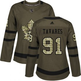 Wholesale Cheap Adidas Maple Leafs #91 John Tavares Green Salute to Service Women\'s Stitched NHL Jersey