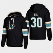 Wholesale Cheap San Jose Sharks #30 Aaron Dell Black adidas Lace-Up Pullover Hoodie