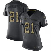 Wholesale Cheap Nike Cowboys #21 Deion Sanders Black Women's Stitched NFL Limited 2016 Salute to Service Jersey