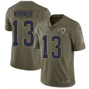 Wholesale Cheap Nike Rams #13 Kurt Warner Olive Youth Stitched NFL Limited 2017 Salute to Service Jersey