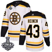 Wholesale Cheap Adidas Bruins #43 Danton Heinen White Road Authentic 2019 Stanley Cup Final Stitched NHL Jersey
