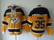 Wholesale Cheap Predators #35 Pekka Rinne Yellow Sawyer Hooded Sweatshirt Stitched NHL Jersey