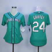 Wholesale Cheap Mariners #24 Ken Griffey Green Alternate Women's Stitched MLB Jersey