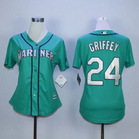 Wholesale Cheap Mariners #24 Ken Griffey Green Alternate Women\'s Stitched MLB Jersey
