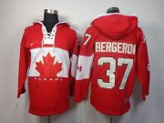 Wholesale Cheap Olympic CA. #37 Patrice Bergeron Red Sawyer Hooded Sweatshirt Stitched NHL Jersey