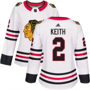 Wholesale Cheap Adidas Blackhawks #2 Duncan Keith White Road Authentic Women's Stitched NHL Jersey