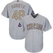 Wholesale Cheap Cubs #49 Jake Arrieta Grey 2017 Gold Program Cool Base Stitched MLB Jersey