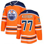 Wholesale Cheap Adidas Oilers #77 Oscar Klefbom Orange Home Authentic Stitched NHL Jersey