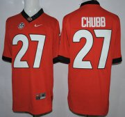 Wholesale Cheap Georgia Bulldogs #27 Nick Chubb Red 2015 College Football Nike Limited Jersey