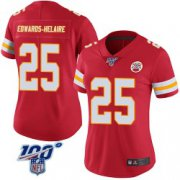 Wholesale Cheap Women's Nike Kansas City Chiefs #25 Clyde Edwards-Helaire Limited Red 100th Vapor Jersey