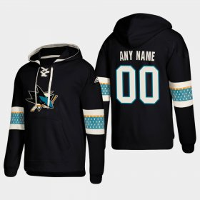 Wholesale Cheap San Jose Sharks Personalized Lace-Up Pullover Hoodie Black