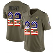 Wholesale Cheap Nike Browns #22 Grant Delpit Olive/USA Flag Men's Stitched NFL Limited 2017 Salute To Service Jersey