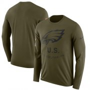 Wholesale Cheap Men's Philadelphia Eagles Nike Olive Salute to Service Sideline Legend Performance Long Sleeve T-Shirt