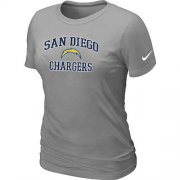 Wholesale Cheap Women's Nike Los Angeles Chargers Heart & Soul NFL T-Shirt Light Grey
