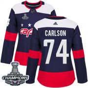 Wholesale Cheap Adidas Capitals #74 John Carlson Navy Authentic 2018 Stadium Series Stanley Cup Final Champions Women's Stitched NHL Jersey