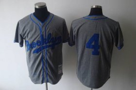 Wholesale Cheap Mitchell and Ness 1945 Dodgers #4 Babe Herman Grey Stitched Throwback MLB Jersey