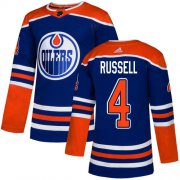 Wholesale Cheap Adidas Oilers #4 Kris Russell Royal Blue Alternate Authentic Stitched NHL Jersey