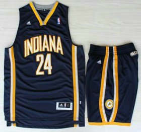 Wholesale Cheap Indiana Pacers 24 Paul George Blue Revolution 30 Swingman NBA Jerseys Shorts Suits