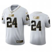 Wholesale Cheap Cleveland Browns #24 Nick Chubb Men's Nike White Golden Edition Vapor Limited NFL 100 Jersey