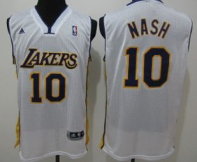 Wholesale Cheap Los Angeles Lakers #10 Steve Nash White Swingman Jersey