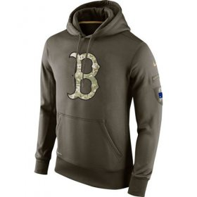 Wholesale Cheap Men\'s Boston Red Sox Nike Olive Salute To Service KO Performance Hoodie
