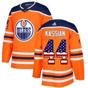 Wholesale Cheap Adidas Oilers #44 Zack Kassian Orange Home Authentic USA Flag Stitched NHL Jersey