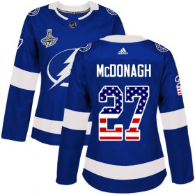 Cheap Adidas Lightning #27 Ryan McDonagh Blue Home Authentic USA Flag Women\'s 2020 Stanley Cup Champions Stitched NHL Jersey