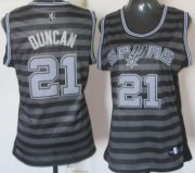 Wholesale Cheap San Antonio Spurs #21 Tim Duncan Gray With Black Pinstripe Womens Jersey