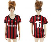 Wholesale Cheap Women's AC Milan #16 Poli Home Soccer Club Jersey