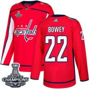 Wholesale Cheap Adidas Capitals #22 Madison Bowey Red Home Authentic Stanley Cup Final Champions Stitched NHL Jersey