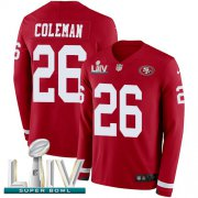 Wholesale Cheap Nike 49ers #26 Tevin Coleman Red Super Bowl LIV 2020 Team Color Men's Stitched NFL Limited Therma Long Sleeve Jersey