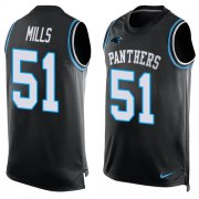 Wholesale Cheap Nike Panthers #51 Sam Mills Black Team Color Men's Stitched NFL Limited Tank Top Jersey