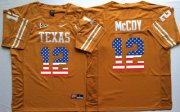 Wholesale Cheap Men's Texas Longhorns 12 Colt McCoy Orange USA Flag College Jersey