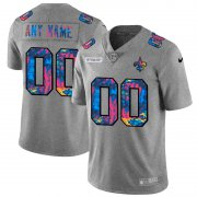 Wholesale Cheap New Orleans Saints Custom Men's Nike Multi-Color 2020 NFL Crucial Catch Vapor Untouchable Limited Jersey Greyheather