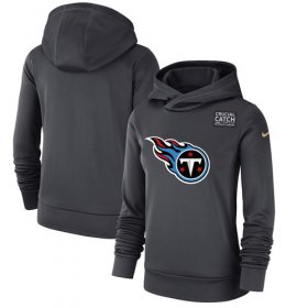 Wholesale Cheap Women\'s Tennessee Titans Nike Anthracite Crucial Catch Performance Pullover Hoodie