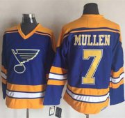 Wholesale Cheap Blues #7 Joe Mullen Light Blue/Yellow CCM Throwback Stitched NHL Jersey