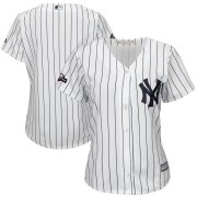 Wholesale Cheap New York Yankees Majestic Women's 2019 Postseason Official Cool Base Player Jersey White Navy