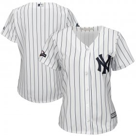 Wholesale Cheap New York Yankees Majestic Women\'s 2019 Postseason Official Cool Base Player Jersey White Navy