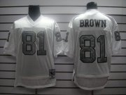 Wholesale Cheap Mitchell And Ness 1994 Raiders #81 T.Brown White Silver No. Stitched NFL Jersey With 75TH Anniversary Patch
