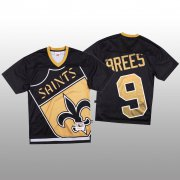 Wholesale Cheap NFL New Orleans Saints #9 Drew Brees Black Men's Mitchell & Nell Big Face Fashion Limited NFL Jersey