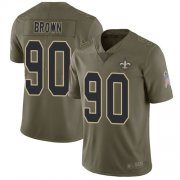 Wholesale Cheap Nike Saints #90 Malcom Brown Olive Youth Stitched NFL Limited 2017 Salute to Service Jersey