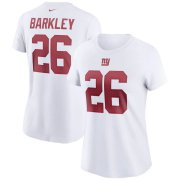 Wholesale Cheap New York Giants #26 Saquon Barkley Nike Women's Team Player Name & Number T-Shirt White