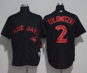 Wholesale Cheap Blue Jays #2 Troy Tulowitzki Black Strip Stitched MLB Jersey