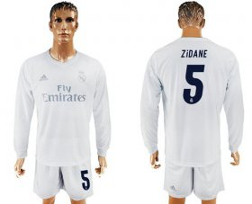 Wholesale Cheap Real Madrid #5 Zidane Marine Environmental Protection Home Long Sleeves Soccer Club Jersey