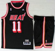 Wholesale Cheap Miami Heat #1 Chris Bosh Black Hardwood Classics Revolution 30 NBA Jerseys Short Suit