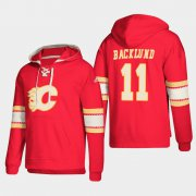Wholesale Cheap Calgary Flames #11 Mikael Backlund Red adidas Lace-Up Pullover Hoodie