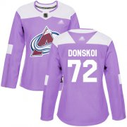 Wholesale Cheap Adidas Avalanche #72 Joonas Donskoi Purple Authentic Fights Cancer Women's Stitched NHL Jersey
