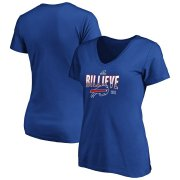Wholesale Cheap Buffalo Bills Women's 2019 NFL Playoffs Bound Hometown Checkdown V-Neck T-Shirt Royal