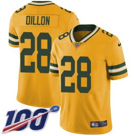 Wholesale Cheap Nike Packers #28 AJ Dillon Yellow Men\'s Stitched NFL Limited Rush 100th Season Jersey