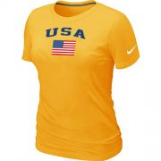 Wholesale Cheap Women's USA Olympics USA Flag Collection Locker Room T-Shirt Yellow